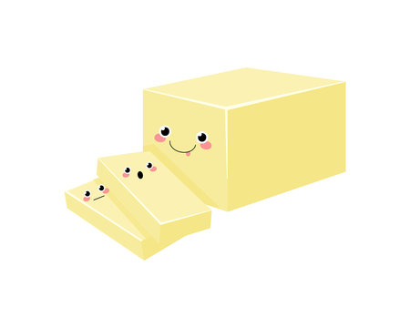 Butter  vector characters isolated on white background.  Kawaii