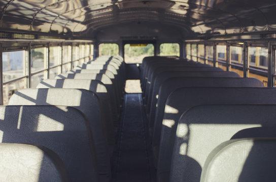 Abandoned school bus interior