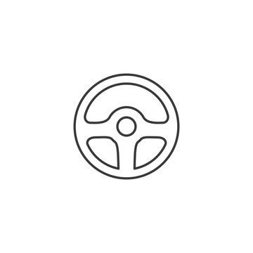 line wheel steering icon on white background