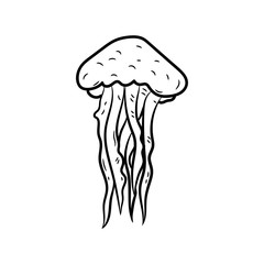 Beautiful hand drawn fashion jellyfish icon. Hand drawn black sketch. Sign / symbol / doodle. Isolated on white background. Flat design. Vector illustration