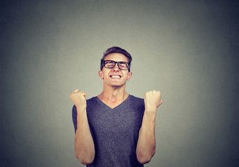 Excited man celebrating a victory