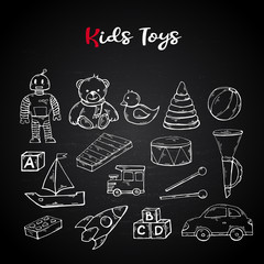 Vector hand draw kids toys set in doodle style