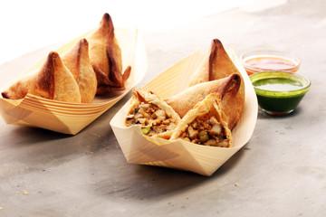 Vegetarian samsa or samosas.Indian special traditional street food punjabi samosa or Coxinha, Croquete and other Fried Brazilian Snacks