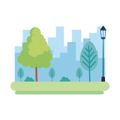 park landscape with lantern scene