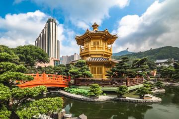 The golden pavilion in Nan Lian Garden, Hong Kong.
