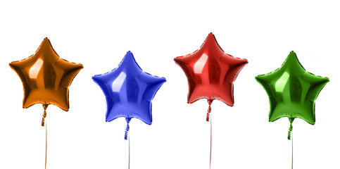 Four metallic big red orange  blue green latex balloons for birthday party isolated on a white