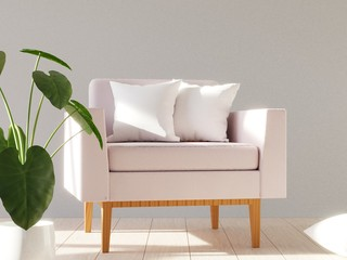 Blank white soft square pillow on a modern armchair. 3D render.