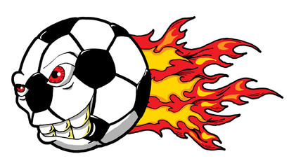 Cartoon Illustration of a Monster Flaming Soccer Ball Ready to Go