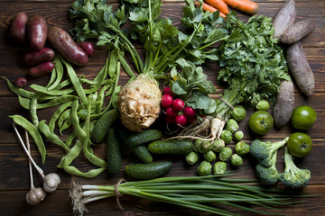 Natural fresh vegetables on the wood.