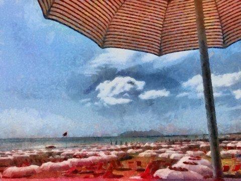 Hand drawing watercolor art on canvas. Artistic big print. Original modern painting. Acrylic dry brush background. Beautiful resort landscape. Summer traveling. Sea tropical beach. Sun umbrella