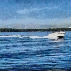 Hand drawing watercolor art on canvas. Artistic big print. Original modern painting. Acrylic dry brush background. White boat sailing on the lake. Bright blue water.