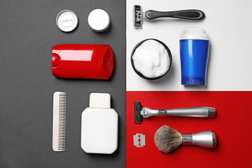 Flat lay composition with shaving accessories for men on color background