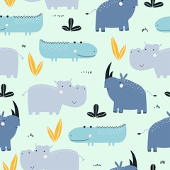 Seamless childish pattern with cute African animals. Fashion kids graphic. Vector hand drawn illustration.