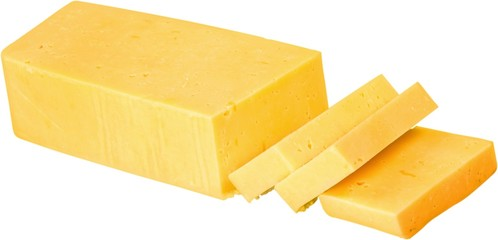 Bar of Cheddar Cheese and Slices - Isolated