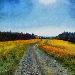 Hand drawing watercolor art on canvas. Artistic big print. Original modern painting. Acrylic dry brush background. Beautiful summer landscape. Wild nature. Road in the field. Blue bright sky