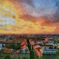Hand drawing watercolor art on canvas. Artistic big print. Original modern painting. Acrylic dry brush background. Beautiful city red sunset landscape. Paradise view. Blue bright sky clouds