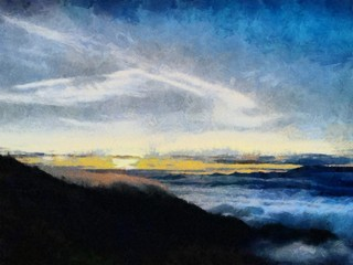 Hand drawing watercolor art on canvas. Artistic big print. Original modern painting. Acrylic dry brush background. Beautiful  mountain landscape. Wild nature. Paradise view. Charming sunset.