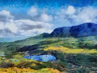 Hand drawing watercolor art on canvas. Artistic big print. Original modern painting. Acrylic dry brush background. Beautiful  mountain landscape. Wild nature. Paradise view. Blue bright sky clouds