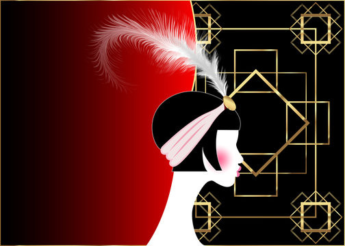 Flapper girl, retro woman of twenties. Retro party invitation design with a beautiful portrait 1920s style, fashion silhouette with feather, art print luxury Deco, vector gold and red black background