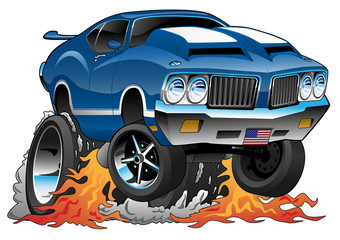 Classic Seventies American Muscle Car Hot Rod Cartoon Vector Illustration