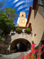 Medieval architecture inside Eze village, near the city of Nice in France