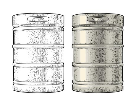 Metal beer keg. Vintage vector engraving illustration