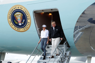 President Trump arrives ewiht first lady to visit areas affected by Hurricane Michael in Georgia