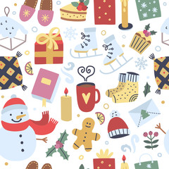 Winter festive seamless pattern. Christmas holidays background with cute season elements and funny illustrations