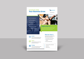 Flyer Layout with Blue and Green Design Elements