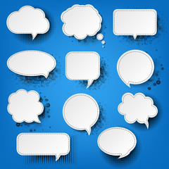 Retro Speech Bubble With Blue Background
