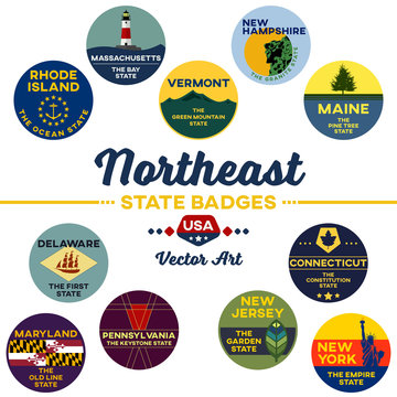 united states | northeast state digital badges | vector art