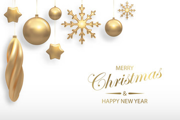 Vector illustration of Christmas background with golden 3d realistic christmas ball, star, snowflake decorations isolated on white. New year and xmas holiday winter concept