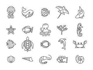 set of sea or ocean animals icons