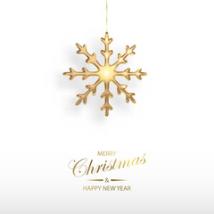 Vector illustration of Christmas  golden 3d realistic christmas snowflake decoration isolated on white. New year and xmas holiday winter concept