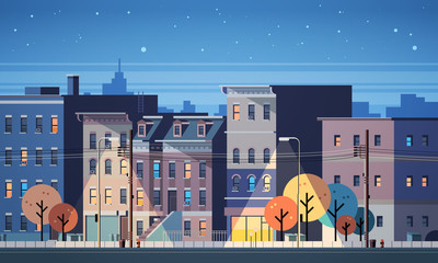 city building houses night view skyline background real estate cute town concept horizontal flat vector illustration