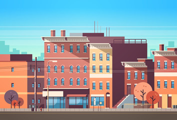city building houses view skyline background real estate cute town concept horizontal flat vector illustration