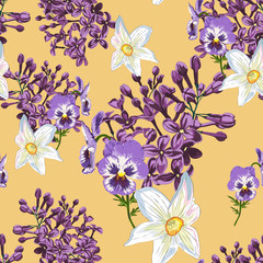 Trendy Floral pattern in the many kind of flowers. Spring seamless pattern, Printing with beautiful flowers. Yellow background.