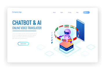Isometric online language learning with artificial intelligence or Science teacher bot concept. Online language school lifestyle. Education Concept.