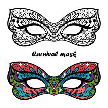 Coloring page carnival masks isolated on white background. Festive masks vector design