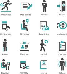 Set of medical symbols