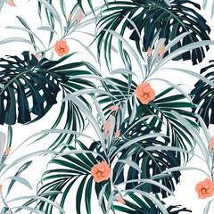 Seamless pattern, dark green colors palm leaves and tropical flowers on white background.