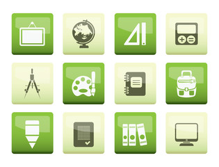 School and education icons over green background - vector icon set