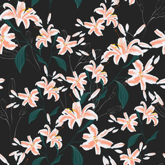 Trendy Floral pattern with orange lilies flowers. Spring, summer seamless pattern, Printing with beautiful flowers. Dark background.