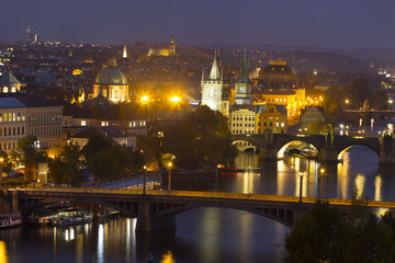 Night Prague City with its Cathedrals, Towers and Bridges, Czech Republic