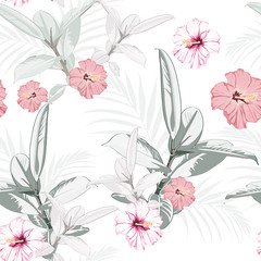 Seamless pattern, light vintage colors Ficus Elastica leaves and hibiscus flowers on white background.