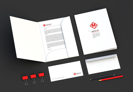 White Folder and Envelope Mockup