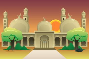 Islamic Mosque at Dusk Illustration