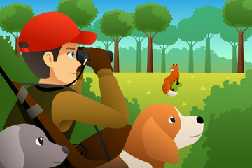 Hunter With His Dog Hunting a Fox