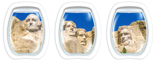 Three porthole frame windows on Aerial view of Mount Rushmore National Memorial of United States of America in South Dakota. US historical presidents: Washington, Jefferson, Roosevelt, Lincoln.