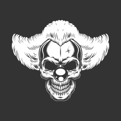 Vintage monochrome creepy angry clown skull